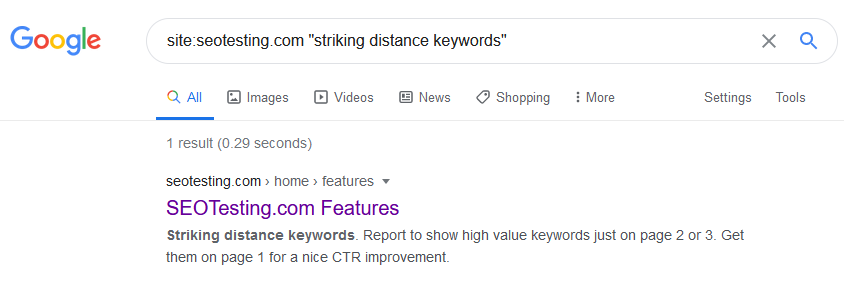 Screenshot of using Google to find internal linking opportunities.