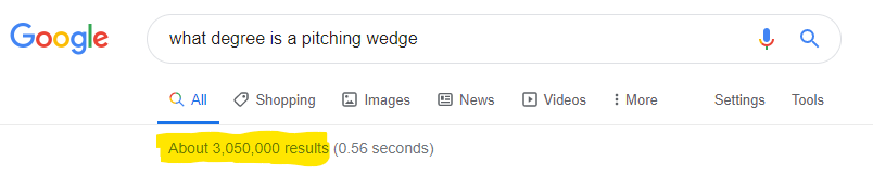 Screenshot of searching for a long tail keyword in Google : what degree is a pitching wedge