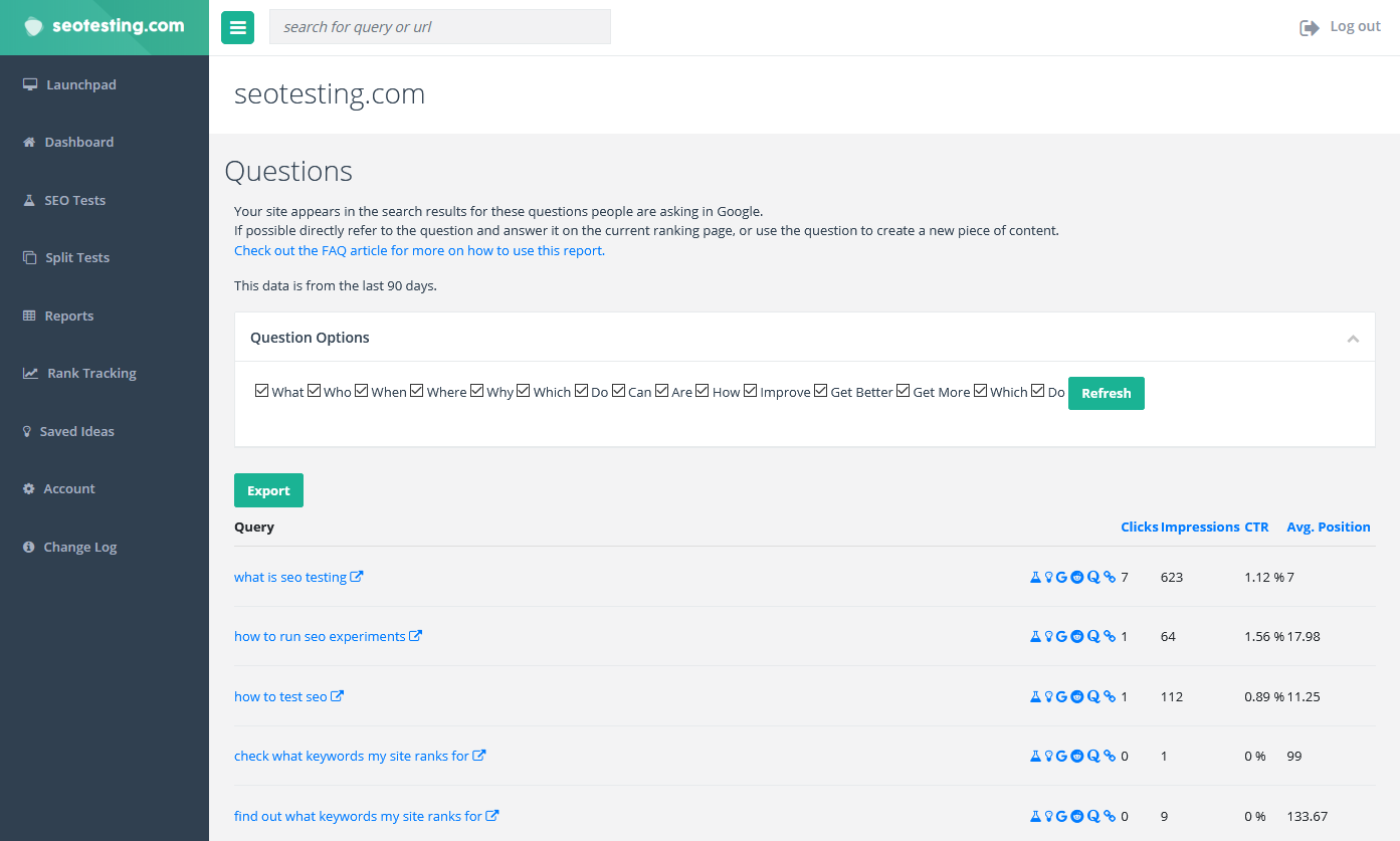 Screenshot of the questions to answer report in SEOTesting.com